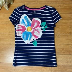 Navy & White Striped Tee - Floral - Youth XXL